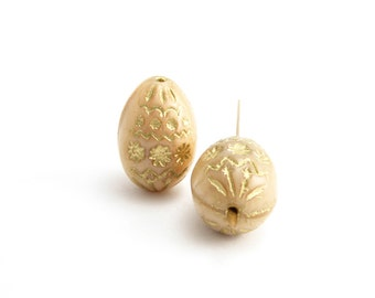 Toffee Decorative Egg Czech Glass Beads, (2 pcs) 20x14mm Egg Beads, Beige Egg Glass Beads, Toffee Oval Beads, Beige Oval Beads OVA0098