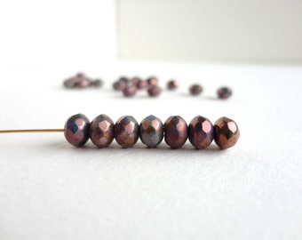 Dark Purple Luster Rondelle Czech Glass Beads, (10 pcs) 7x5mm Rondelle Beads, Purple Glass Beads, Purple Czech Bead, Purple Rondelle GMD0145