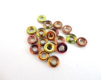 Magic Green Glass Ring Czech Glass Beads, (10 pcs) 9mm Glass Ring Beads, Green Glass Ring Beads, Green Amber Glass Ring Bead GLR0007