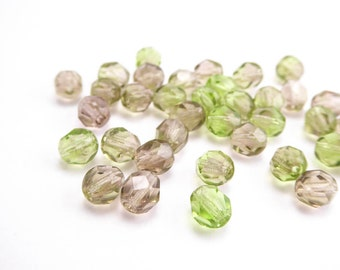 Pale Green Pink Round Faceted Czech Glass Beads, (60 pcs) 6mm Green Round Faceted Beads, Green Round Beads RND0218