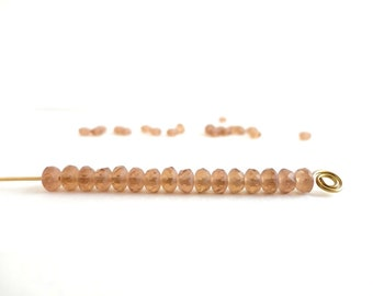 Frosted Light Brown Rondelle Czech Glass Beads, (60 pcs) 3x5mm Rondelle Beads, Matt Brown Gemstone Donut, Brown Spacer, Matt Beads GMD0120