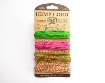 Summer Shindig 1 Hemp Cord 1mm, Hemptique Cord, Natural Hemp Cord, Varigated Hemp Cord, Pink Hemp HMC0067