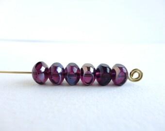 Purple Luster Czech Glass Beads, (10 PCS)  6x9mm Quadries Beads, QUA0003