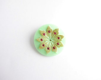 Czech Glass Button, 38mm Czech Button, Green Button BUT0027