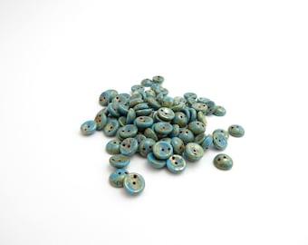 Blue Picasso Piggy Czech Glass Beads, (40 pcs) 4x8mm Piggy Beads, Blue Piggy Beads, Picasso Piggy Beads, 2 Hole Beads, Bead Weaving PIG0027
