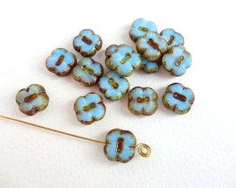 Blue Picasso Square Flower Czech Glass Beads, (6 pcs) 12mm Flower Beads, Blue Flower Beads, Blue Square Beads, Picasso Beads FLW0119
