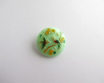Bird Czech Glass Button, 27mm Czech Glass Button, Hand Painted Button, BUT0016
