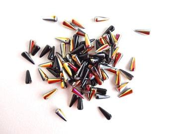 Black Vitrail Spike Czech Glass Beads, (30 pcs) 5x13mm Spike Beads, Rainbow Beads, Vitrail Beads, Black Spike Beads, Pink Spike SPK0002