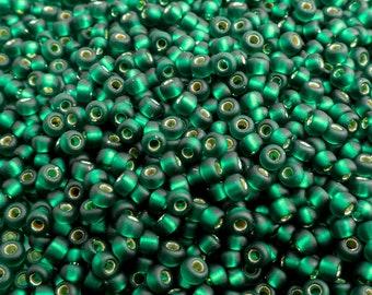 Miyuki Matt Silver Lined Dark Emerald Seed Beads 11/0, (12.5 grams) Japanese Seed Bead, Silver Lined Seed Beads, Green Seed Beads JSB0031