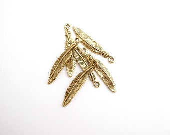 2 x Antique Gold Feather Charms, Gold Bird Charms, Feather Charms, 34.3 x 6.8 x 2mm  CHM0111