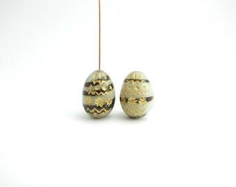 White Black Decorative Egg Czech Glass Beads, (2 pcs) 20x14mm Oval Glass Beads, White Egg Glass Beads, White Oval, White Egg OVA0099