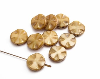 Toffee Cross Coin Czech Glass Beads, (10 pcs) 14mm Coin Beads, Toffee Pressed Beads, Cross Coin Beads, Beige Coin Beads, Beige Beads CON0086