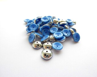 Blue Silver Piggy Czech Glass Beads, (40 pcs) 4x8mm Piggy Beads, Blue Piggy Beads, Silver Piggy Beads, Metallic Beads, Beadweaving PIG0024