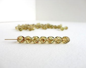 Light Green Round Faceted Czech Glass Beads, (30 pcs) 6mm Round Beads, Brown Swirl, Fire Polished Beads, Faceted Beads, Stripy Beads RND0039