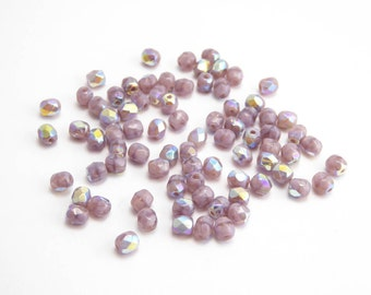 Pale Purple AB Round Faceted Czech Glass Beads, (60pcs) 4mm Round Beads, Pale Purple Beads, AB Beads, AB Round Beads, Faceted Beads RND0293