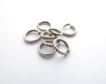 10 x 9mm Antique Silver Textured Jump Rings, Nunn Design Jump Rings, Silver Jump Rings, 9mm Jump Rings JPR0014