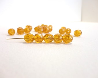 Yellow Crackle Round Czech Glass Beads, (10 pcs) 8mm Round Faceted Beads, Fire Polished Beads, Crackle Glass Beads, Yellow Beads RND0030