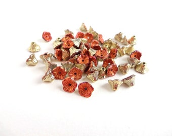 40 x 7x5mm Czech Glass Beads, Gold Rush Flower Cup Czech Glass Beads, Gold Flower Beads, Copper Flower Beads FLW0112