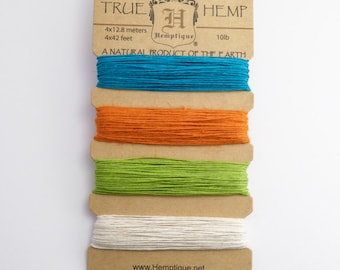 Hemptique 0.5mm Bright Card Set, 10lb Hemp Cord Set, Green Hemp, Lilac Hemp, Blue Hemp HMC0006