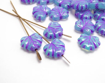 Seafoam Purple Leaf Czech Glass Beads, (20 pcs) 11x13mm Turquoise Glass Leaf Beads, Czech Leaf Beads, Seafoam Beads LEA0065