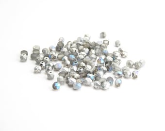 120 x Crystal Silver Rainbow Etched Round Faceted Czech Glass Beads 4mm, Etched Round Beads, 4mm Silver Beads RND0256