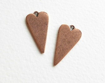 Heart Charms, (2 pcs) 27x15x1.2mm Charms, Heart Charms, Copper Heart Charms, Antique Copper Charms, Love Charms, Valentine Charms CHM0083