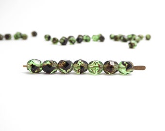 Marbled Green Round Faceted Czech Glass Beads, (60 pcs) 6mm Green Round Faceted Beads, Green Round Beads RND0222