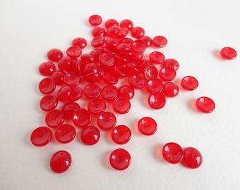 Red Piggy Czech Glass Beads, (30 pcs) 4x8mm Piggy Beads, Red Double Holed Beads, Dome Beads, 2 Hole Beads, Red Piggy Beads, Red Bead PIG0003