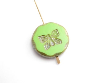 26mm Apple Green Butterfly Coin Czech Glass Beads, (1 pc)