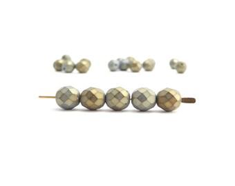 20 x 8mm Grey Iris Round Faceted Czech Glass Beads, 8mm Gray Round Faceted Beads, Iris Beads RND0231