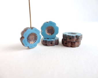Turquoise Hawaiian Flower Czech Glass Beads, (4 pcs) 14mm Hawaiian Flower Beads, Blue Flower, Daisy Bead, Pansy Beads, Blue Hawaiian FLW0038