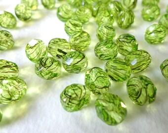 Green Round Czech Glass Beads, (10 pcs) 8mm Round Beads, Fire Polished Beads, Faceted Beads, Green Round Beads, Green Glass RND0001