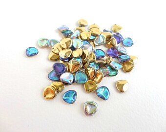 Crystal Golden Rainbow Rose Petal Czech Glass Beads, (60 pcs) 8x7mm Petal Beads, Glass Petal Beads, Flower Petal, Gold Flower PET0012