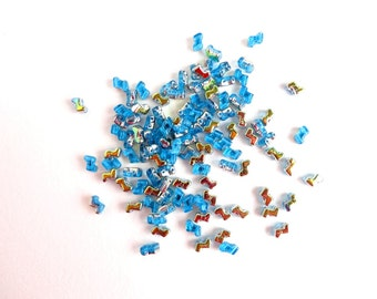 Blue Vitrail Zorro Czech Glass Beads, (40 pcs) 5x6mm Zorro Beads, Blue Double Hole Beads, 2 Hole, Blue Z Beads, Blue Seed Beads ZOR0001