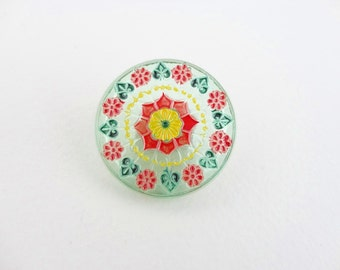 Czech Glass Button, 31mm Czech Button, Hand Painted Button BUT0006