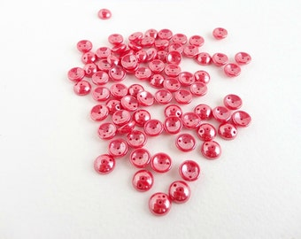 Red Luster Piggy Czech Glass Beads, (60 pcs) 4x8mm Piggy Beads,Red Piggy Beads, Luster Piggy Beads, Red Luster Beads, Domed Beads PIG0017