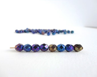 Iris Blue Round Faceted Czech Glass Beads, (40 pcs) 6mm Round Beads, Blue Metallic Beads, Iris Beads, Iris Round Beads, Faceted RND0170
