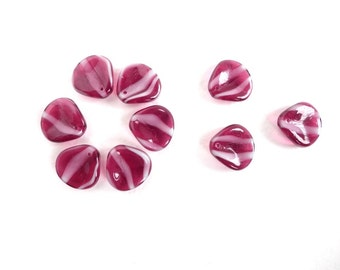 10 x 14x13mm Czech Glass Beads, Dark Pink and White Flower Petal Glass Beads, Pink Flower Beads, Pink Petal Beads PET0005