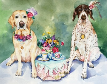 Double Custom dog Portrait, Two pets Portrait,Commission work, make to order, memorial pet portrait  ORIGINAL WATERCOLOR PAINTING