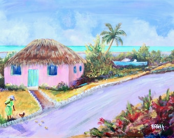 Caribbean island shack painting on rustic wood panel