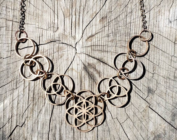 Ascension - Sacred Geometry Statement Necklace in Silver or Bronze - Seed of Life - Vesica Piscis - Tripod of Life
