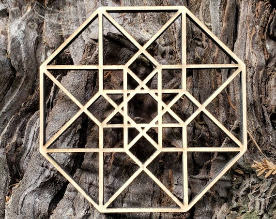Hypercube Tesseract Wall Art or Crystal Grid in Lasercut Reclaimed Wood - Sacred Geometry - Hyperdimensional Cube