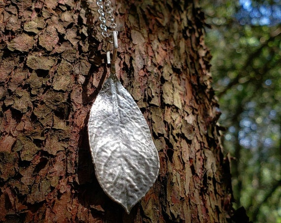 Pacific Madrone Leaf Hexagon Pendant - Northern California Forest Art Jewelry in Recycled Sterling Silver - PNW Upper Left USA - West Coast