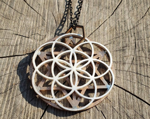 Double Layer Sacred Geometry Grid Mixed Metal Statement Pendant in Silver and Bronze - Star Tetrahedron - Seed of Life