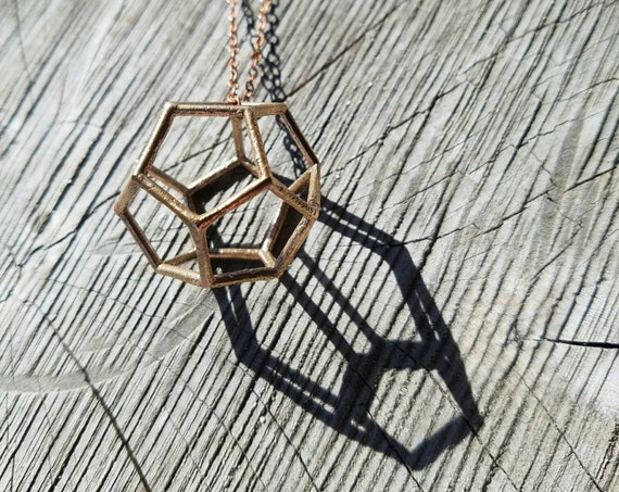 Dodecahedron Platonic Solid Bronze Pendant with Chain