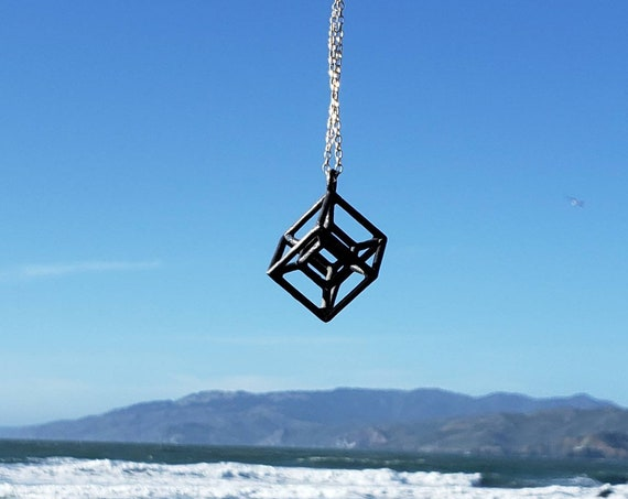 Hypercube Tesseract Pendant in Oxidized Bronze with 925 Silver Chain - Sacred Geometry - Hyperdimensional Cube
