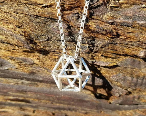 CubeOctahedron Vector Equilibrium Pendant in Recycled Sterling Silver