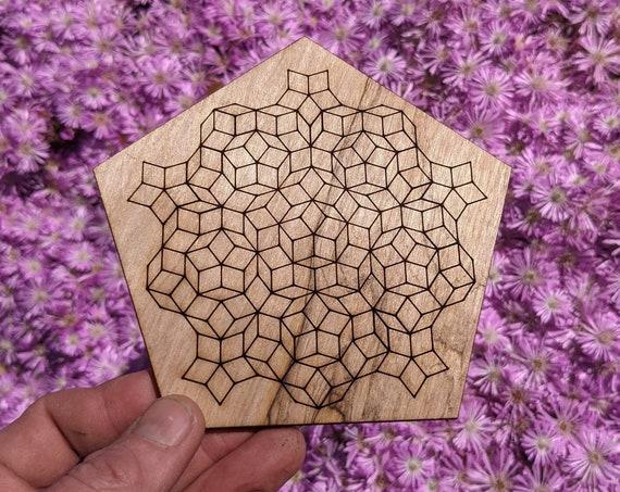 Pentagonal Penrose Tile Set Reclaimed Wood Laser Engraved and Cut Wall Art or Crystal Grid