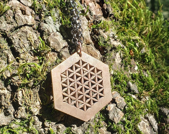 Flower of Life Hexagon Pendant in Cast Solid Bronze with Chain - Sacred Geometry Jewelry - Healing