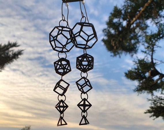 Platonic Solids 3D Sacred Geometry Statement Earrings in Recycled Ancient Bronze